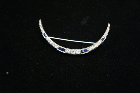 Diamond and Sapphire Gold Crescent Pin