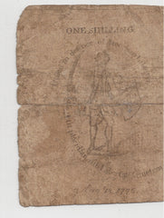 Colonial Currency Sword In Hand 1775 Note, MA