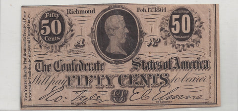 Confederate States Fifty Cent Note - Richmond