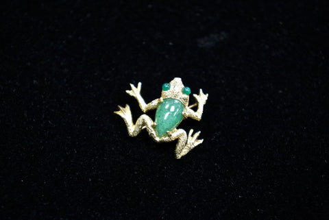 Yellow Gold Gem Set Frog Pin