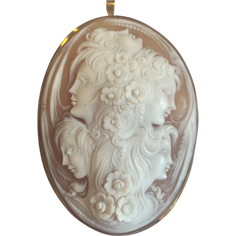 Large 20th century Italian Shell 5-Faced Cameo Broach/Pendant