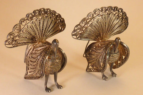 Sterling Silver Filigree Peacock place cards holders