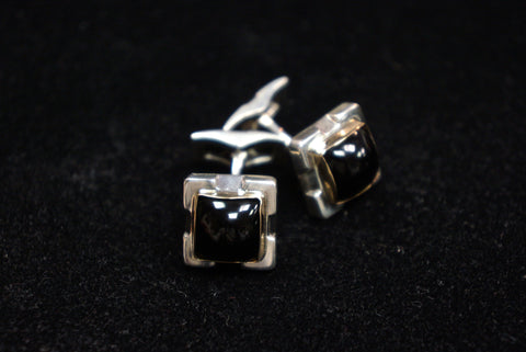 Sterling and 14 K Gold with Square Black Onyx Cufflinks