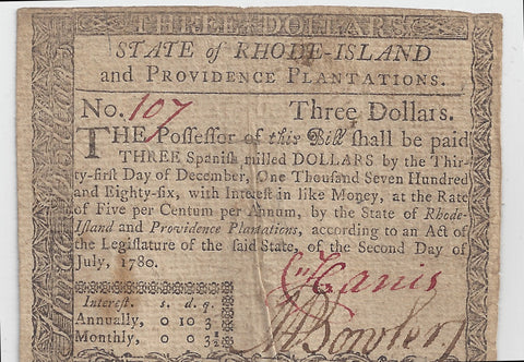 Rhode Island Colonial Note $3