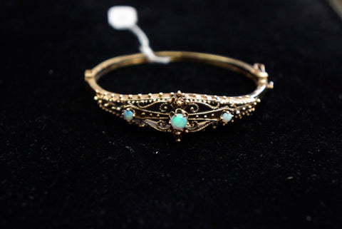 Opal Filigree Hinged Bracelet