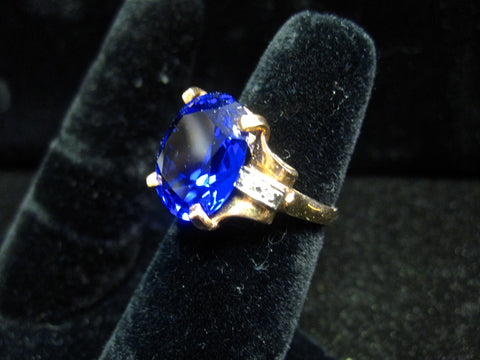 Gold Ring Synthetic Sapphire SOLD