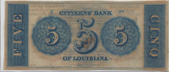 Citizens Bank of Louisiana $5 Note