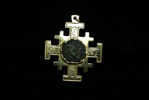 Coptic Cross with Ancient Judean Coin Bezel Set