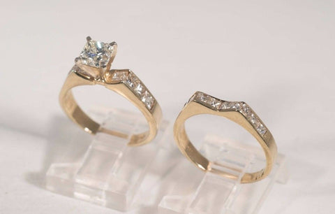 14k Yellow Gold 2 Piece Engagement/wedding set w/1.02ct Princess Center stone