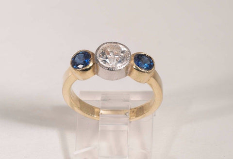 18k Yellow Gold Diamond & Sapphire Ring w/1.0 ct. Center Mine Cut Diamond