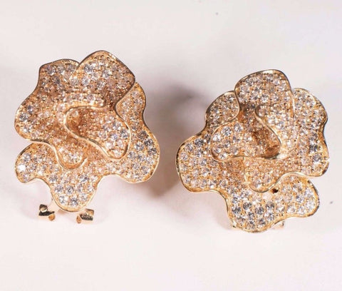 10 Gram 14K Yellow Gold Floral Design Earrings with CZ's