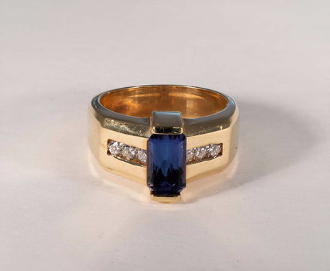 16.9 Gram 14K Yellow Gold Tanzanite and .5 ct. Diamond Ring , size 10