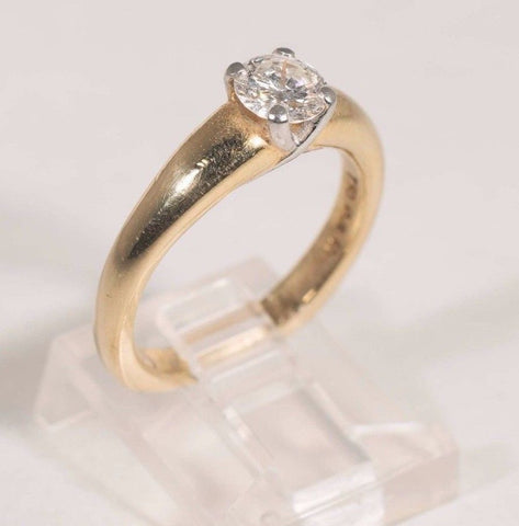 18k Yellow Gold Engagement with .70ct Center Solitaire G SI 1 Set in Platinum