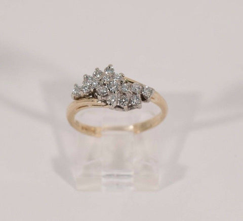 3.2 Gram 14K Yellow Gold 1 ct. tw. Diamond Cluster Ring, size 6.5