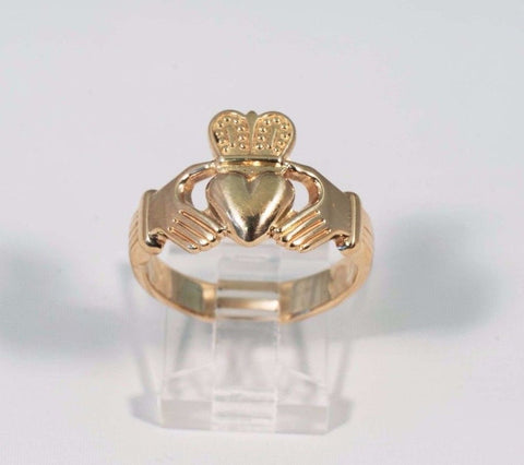 8 Gram 14K Yellow Gold Large Men's Claddagh Ring, size 10