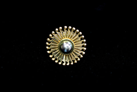 Yellow Gold Pin with Black Pearl Center SOLD