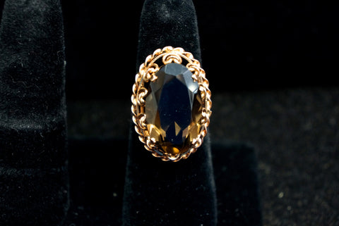 Large Brown Topaz Ring set in Gold
