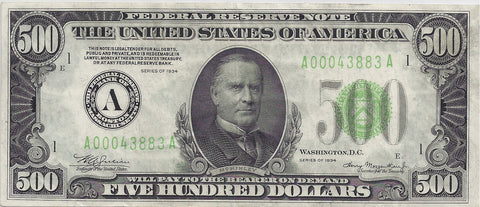 1934 Series US $500 Dollar Bill SOLD