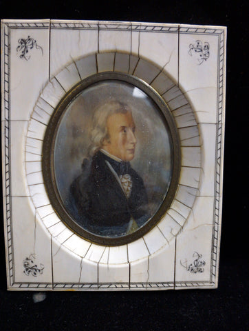 Ivory Framed Ivory Painted Portraite Miniature of a Man