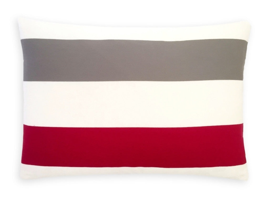 Red White Grey Cushions Rectangle