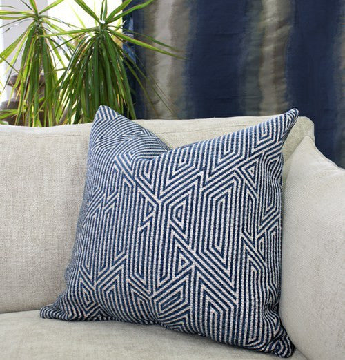 European Geometric Chenille - Deep Blue with Taupe Contrast