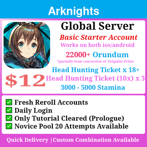 [Global] Arknights Fresh Jackpot Starter 22000+💎 18 Tickets