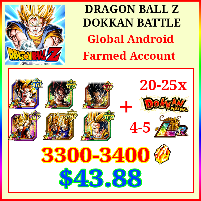 [Global] Dokkan Battle Farmed Account 3300-3400DS💎10-11 LR 20-25 limited