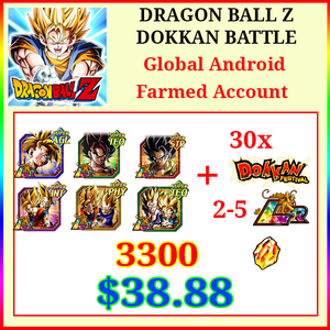 [Global] Dokkan Battle Farmed Account 3300DS💎8-11 LR 30 limited