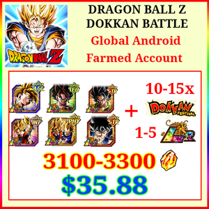 [Global][Android] Dokkan Battle Farmed Starters with 3100-3300DS💎
