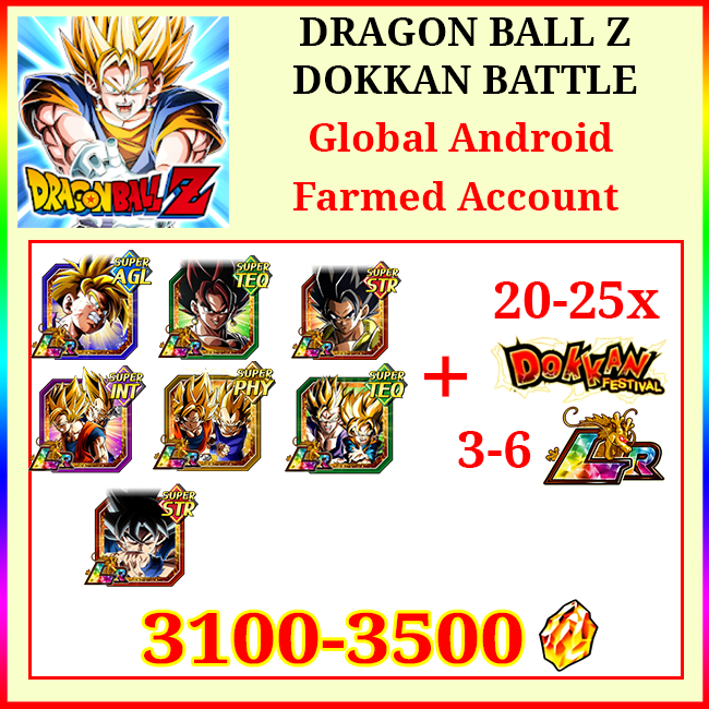 [Global] Dokkan Battle Farmed Account 3100-3500DS💎10-16 LR 20-25 Limited Gohan Vegito Gogeta Goku&Vegeta Gobro UI Goku