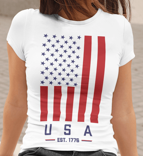 American Flag tee USA 1776 Unisex Made in the USA Jersey T-Shirt