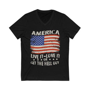 American Flag Tee Live it Love it Unisex Jersey V-Neck Tee