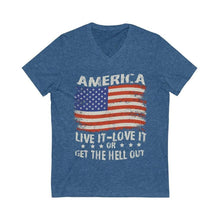 Load image into Gallery viewer, American Flag Tee Live it Love it Unisex Jersey V-Neck Tee