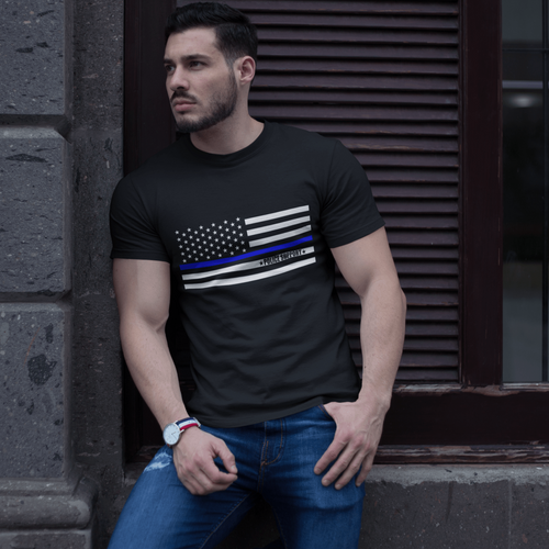 American Flag Tee blue thin line Unisex Made in the USA T-Shirt