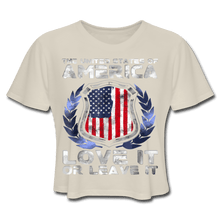 Load image into Gallery viewer, American Flag Tee Love it or Leave it Women's Cropped T-Shirt