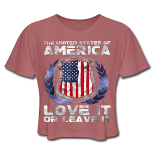 American Flag Tee Love it or Leave it Women's Cropped T-Shirt