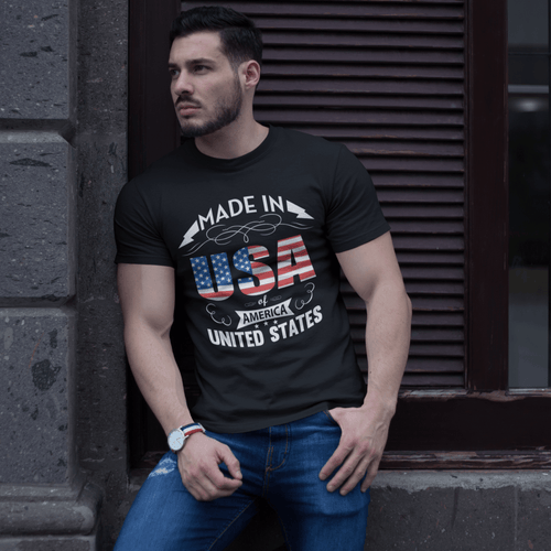 American Flag Tee Unisex Made In the USA Men's 100% Cotton T-Shirt