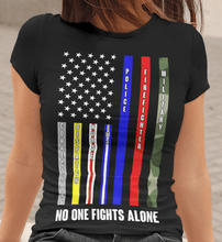 Load image into Gallery viewer, American Flag Tee no one fights alone Unisex Jersey Tee