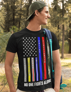 American Flag Tee no one fights alone Unisex Jersey Tee