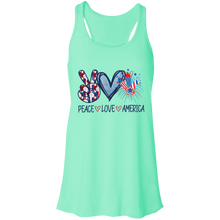 Load image into Gallery viewer, American Flag Tee Peace Love America Flowy Racerback Tank