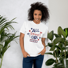 Load image into Gallery viewer, American Flag Tee Unisex Jersey Short Sleeve Tee All American Girl