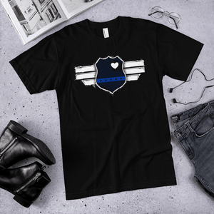 American Flag Tee Unisex Jersey Short Sleeve Tee Captain Blue Line