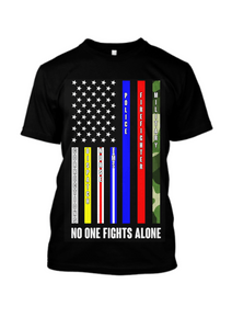 American Flag Tee Unisex Jersey Short Sleeve Tee No One Fights Alone