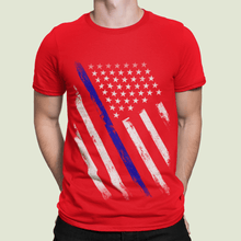 Load image into Gallery viewer, American Flag Tee Unisex Jersey Short Sleeve Tee Police Line