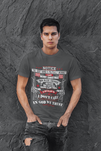 American Flag Tee Unisex Made in the USA I don't care T-Shirt