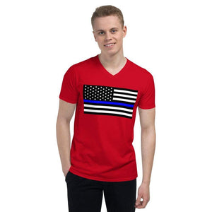 American Flag Tee White Thin Blue Line Men's V-Neck T-Shirt