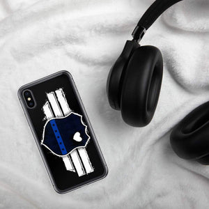 Back the badge thin blue line iPhone Case