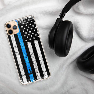 American Flag Thin Blue Line Police iPhone Case