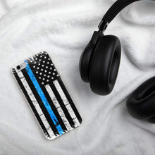Load image into Gallery viewer, American Flag Thin Blue Line Police iPhone Case