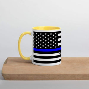 Police Flag Thin Blue line Mug with Color Inside